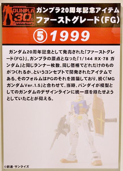 ⑤ガンプラ20周年記念アイテム ファーストグレード(FG) 1999 POP