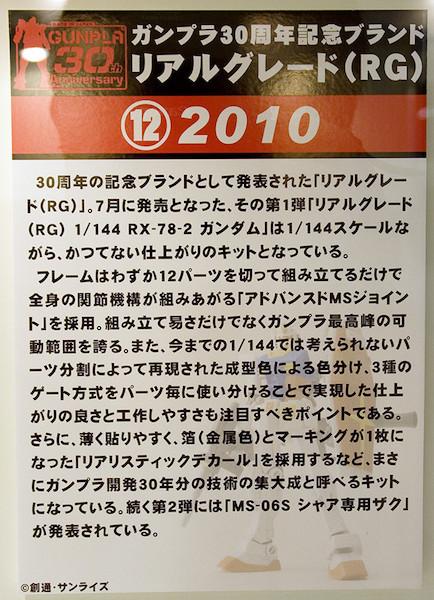 ⑫ガンプラ30周年記念ブランド リアルグレード(RG) 2010 POP